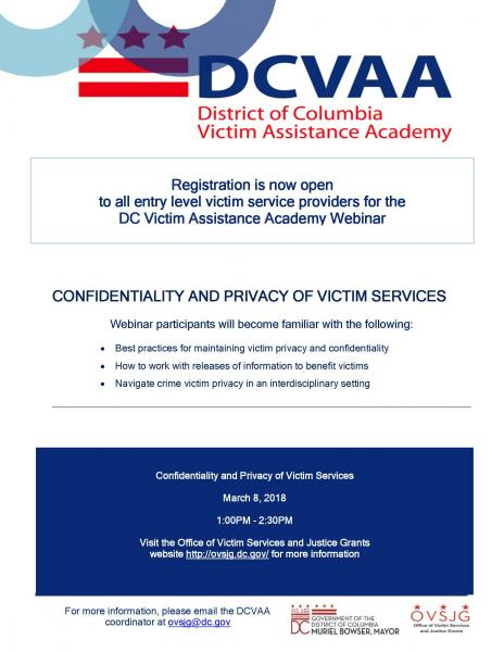 Confidentiality and Privacy of Victim Services Webinar   ovsjg
