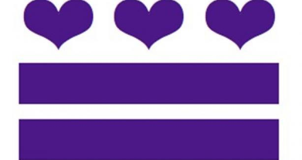 Domestic Violence Awareness Month logo - Purple image of DC bars with hearts instead of stars